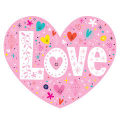 word Love retro typography lettering text heart card