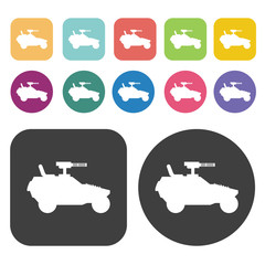 Military off-road car icons set. Round and rectangle colourful 1