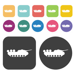 Tank icons set. Round and rectangle colourful 12 buttons. Vector