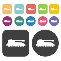 Army desert tank icons set. Round and rectangle colourful 12 but