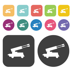 Army artillery cannon icons set. Round and rectangle colourful 1
