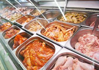 meat showcase in food supermarket