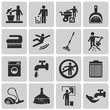 Vector Cleaning black icons set1. Illustration eps10