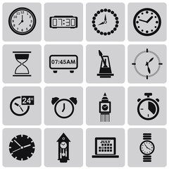 Time and Clock black icons set1. Vector Illustration eps10