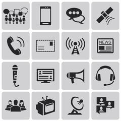 Media and Communication black icons set1. Vector Illustration ep