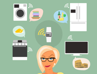Blond woman thinking about smart gadgets at home and