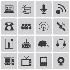 Media and Communication black icons set3. Vector Illustration ep