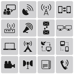 Media and Communication black icons set4. Vector Illustration ep