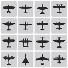 Set of aircrafts black icons set1. Vector illustrations eps10
