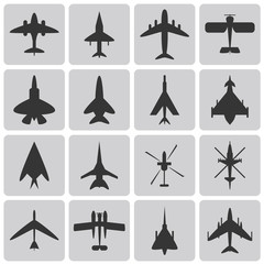 Set of aircrafts black icons set2. Vector illustrations eps10