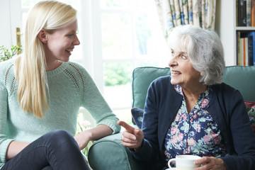 Teenage Granddaughter Visiting Grandmother