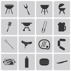 Vector Grill Or Barbecue Black Icons set1. Illustration eps10