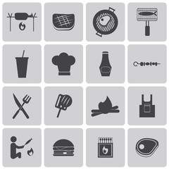Vector Grill Or Barbecue Black Icons set2. Illustration eps10