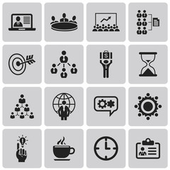Business icons, management and human resources Black icon set2.