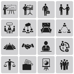 Business icons, management and human resources Black icon set1.