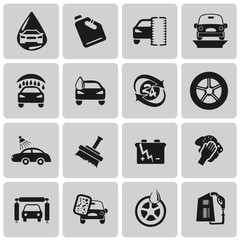 Vector Car wash black icons set1. Illustration eps10