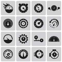 Vector Circular gauges black icons set1. Illustration eps10