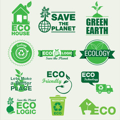 Ecology And Bio Labels Badge set. Illustration eps10