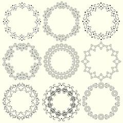 Set of vintage round frames of whorls.
