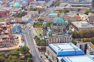 Berlin aerial view with Berlin Cathedral