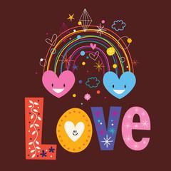 rainbow hearts word Love retro typography lettering text design