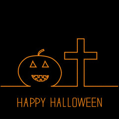 Contour pumpkin and cross. Halloween card. Black. Flat