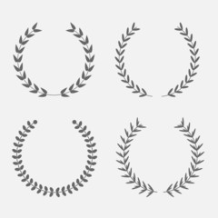Set of silhouette round laurel foliate wheat wreaths. Award Flat