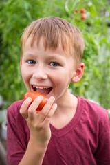 Kind isst eine saftige Tomate