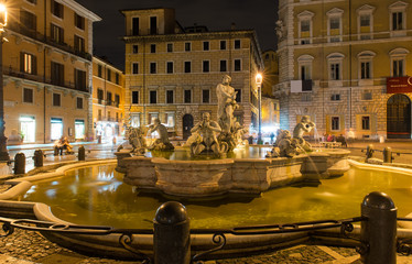 Piazza Navona with Fontana del Moro in Rome, Italy