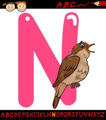 letter n for nightingale cartoon illustration