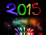 Fototapety New Year's Eve 2015 with Fireworks