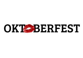 Oktoberfest Schriftzug Logo Lippen Kussmund