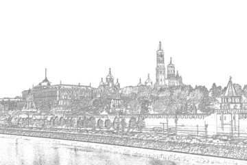 Black and white drawing of the Moscow Kremlin