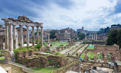 Temple of Saturn and Forum Romanum in Rome, Italy