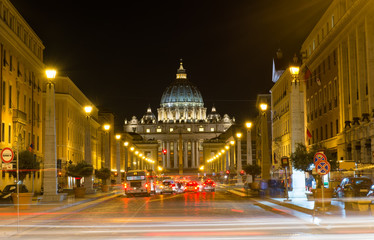 Night view of the St. Peter's Basilica in Rome, Vatican. Italy