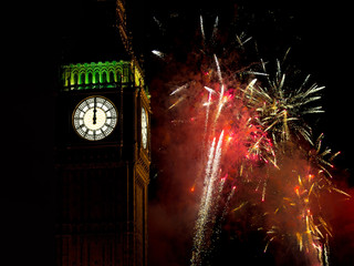 Midnight with Big Ben and real fireworks. New Year.