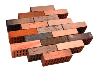 Collection of facing bricks isolated included clipping path