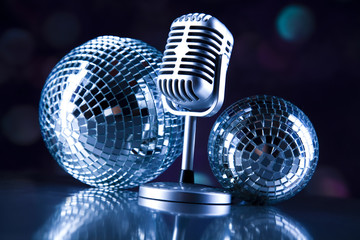 Microphone with disco balls