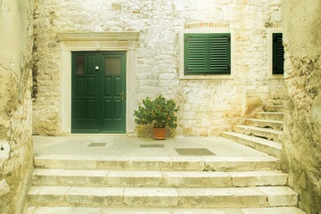 Stone road and stairs in historic center of Sibenik, Croatia