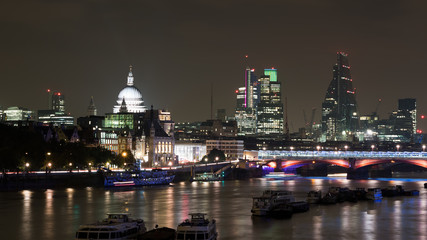 London by night showing River Thames, St Paul's Cathedral etc