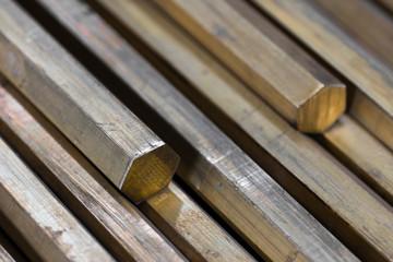 brass hexagonal rods closeup
