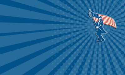 Business card American Patriot Soldier Waving USA Circle Retro