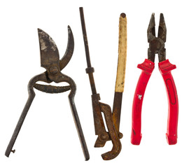 Old isolated tools:adjustable wrench, pliers, scissors for metal