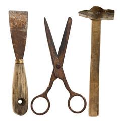 Old isolated tools:shears, spatula, hammer