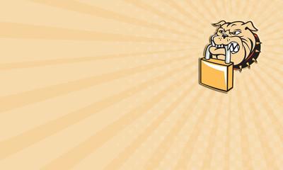 Business card Bulldog Dog Mongrel Head Padlock Retro