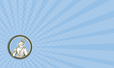 Business card Neptune Poseidon Trident Circle Retro