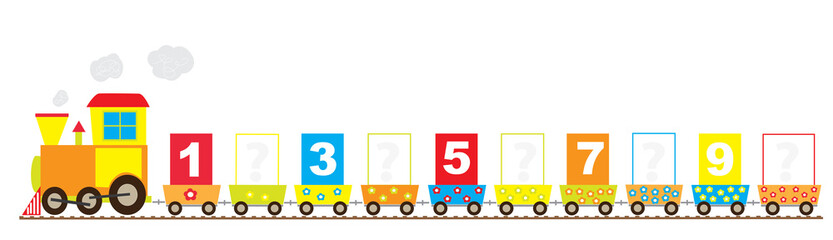 train with missing numbers - vectors for kids