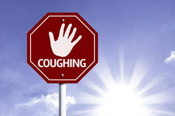 Stop Coughing red sign with sun background