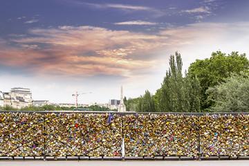 Padlocks on bridge in Paris