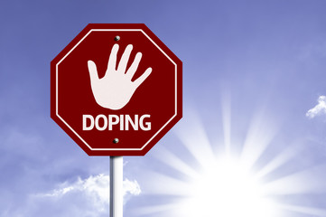 Stop Doping red sign with sun background